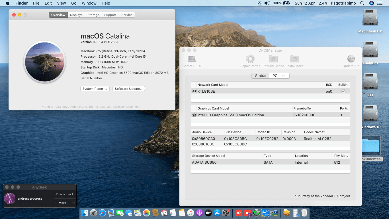 Success Hackintosh macOS Catalina 10.15.4 Build 19E266 in HP Notebook 14-AC115TX